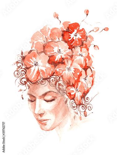 In de dag Vrouw Gezicht blooming hair