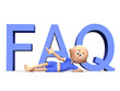 FAQ 3d letters and a cute toon guy