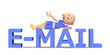 E-mail text in 3d with a cute toon guy on it