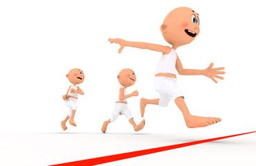 Toon guys running, team leader first