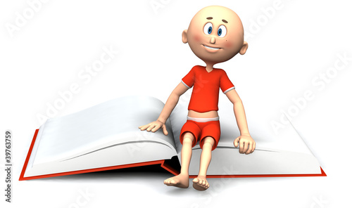 Toon guy sitting on a book. Education