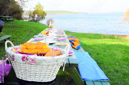 picnic table on nature - 39763902