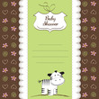 baby shower card with zebra