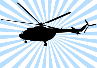 Helicopter in blue