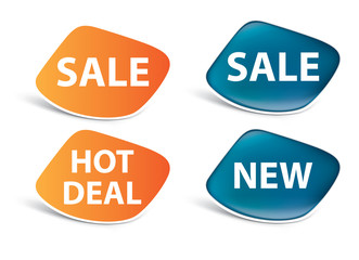 vector stickers — sale, new, hot deal