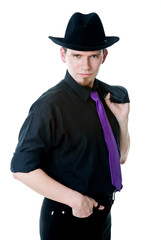 Man in black hat