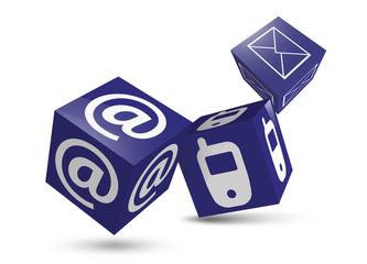 drei würfel blau kommunikation kontakt newsletter email mobil te