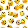 Vector yellow dice seamless background on white