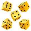 Vector rolling yellow dice set on white background