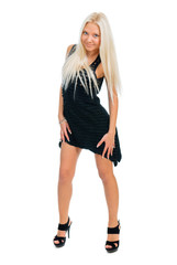 Sexy blond lady in black dress isolated on white background