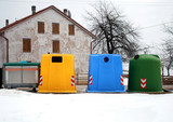 containers for waste collection as glassand paper