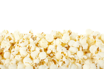Pop corn border on white, clipping path included