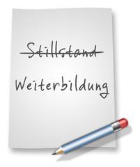 """Papier & Bleistift Illustration """"Stillstand vs. Weiterbildung"""""""