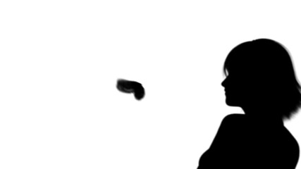 young woman with butterfly silhouettes on white