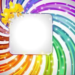 Sfondo raggi curvi Arcobaleno-Label on Rainbow Spiral