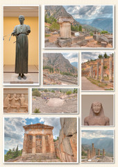 collage of photos from Delphi,Greece