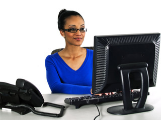 office girl working on a computer