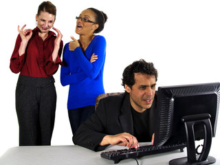female co workers gossiping about male co worker