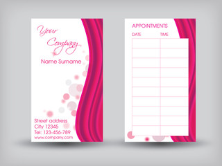 Business card - front and back side with appointment table