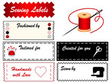 Sewing Labels, copy space, tailor, sew, couture, DIY fashion. poster