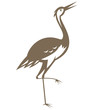 Crane Looking Up Retro Woodcut