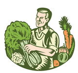 Organic Farmer Green Grocer With Vegetables Retro