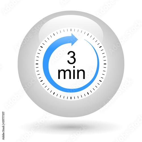 Leinwandbild Motiv Bouton icône minuterie - 3 minutes