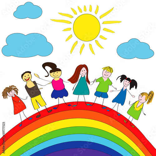 Foto op Aluminium Regenboog Merry children and rainbow, happy life
