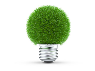 Natural energy concept, green light bulb