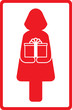 red icon with woman and gift box