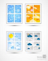 Season through a window. Vector set.