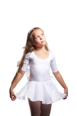 Little ballet dancer dancing isolated on white