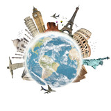Fototapety Travel the world monuments concept 3