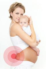 Schwangere Frau mit Baby Schmerz
