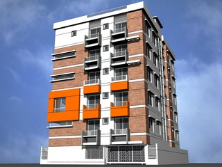 3d modern rendered building