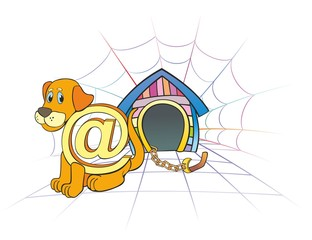 """ Internet  dog sits near a box"""