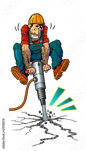 Leinwandbild Motiv workman with jackhammer