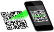 Smartphone Scanning QR-Code Scan On Display Green