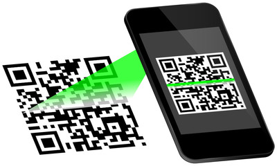 Smartphone Scanning QR-Code Scan On Display Green