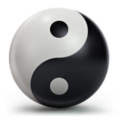 Yin Yang symbol, 3d shape isolated on white