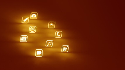 Glowing Mobile App Icons Gold (Two Short Clips)