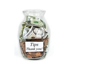 Clear Jar Full of Tips