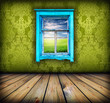 green room with window with field and sky above it