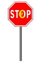 Stoppschild mit Euro - Symbol