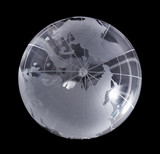 decrease model earth of glass isolated on black background poster