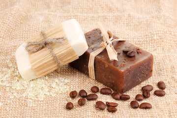 Hand-made soaps on sackcloth