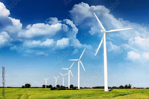 Leinwanddruck Bild Windenergie