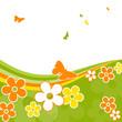 Frühling, Schmetterlinge, Blumen, Grün, Orange, Gelb, Grußkarte