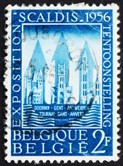 Postage stamp Belgium 1956 Buildings of Tournai, Ghent and Antwe