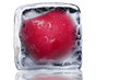 Block of ice with radishes